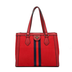 Bonnie Bee Striped Designer Inspired Bag - Red