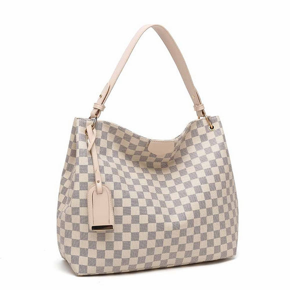 Ashleigh Check Louis Vuitton Inspired Bag - Nude