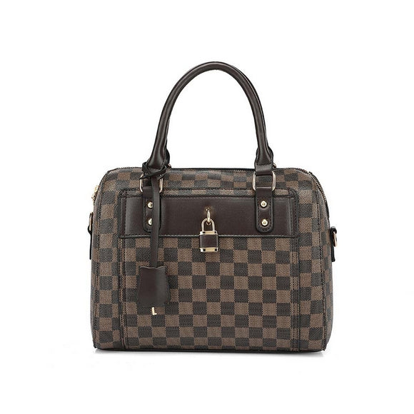 Chrishell Check Designer Inspired Tote Bag - Brown