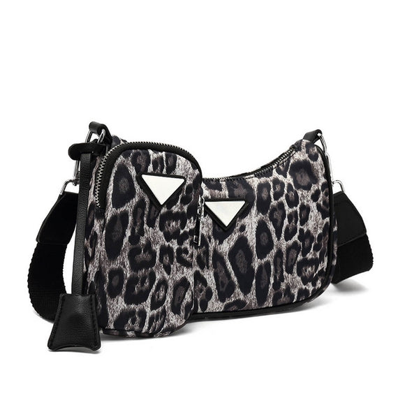 Nadia Nylon Designer Inspired Bag & Pouch Set - Snow Leopard