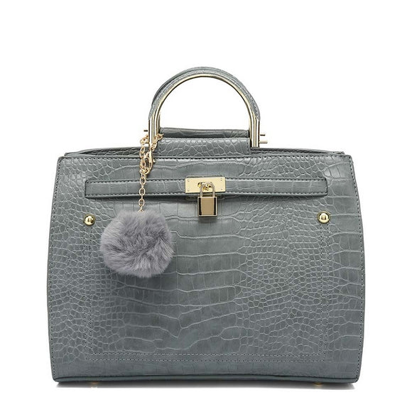 Kerry Moc Croc Hermes Inspired Bag - Grey