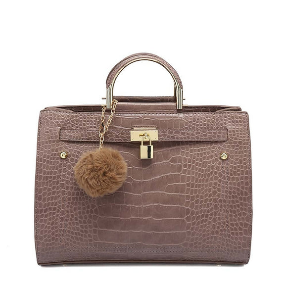 Kerry Moc Croc Hermes Inspired Bag - Taupe
