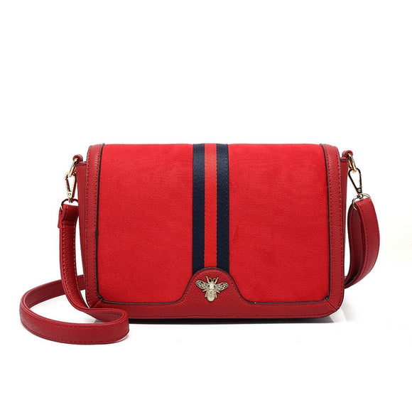Colbie Bee Striped Designer Inspired Bag - Red