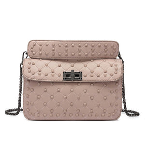Iris Paint Studded Valentino Inspired Bag - Pink