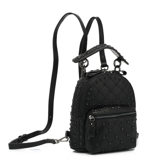 London Studded Valentino Inspired Backpack Mini - Black