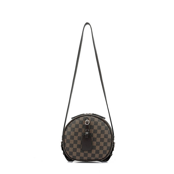 Kyla Round Designer Inspired Bag - Brown Check