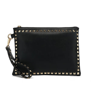 Brianna Studded Valentino Inspired Clutch - Black