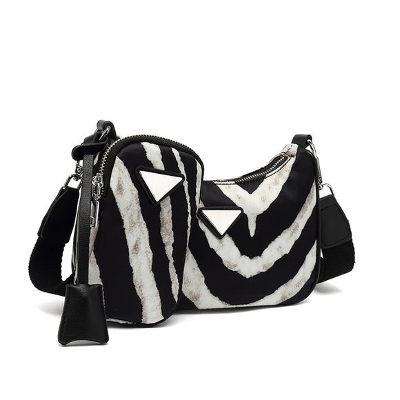 Nadia Nylon Designer Inspired Bag & Pouch Set - Zebra