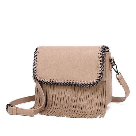 Nellie Real Leather Chain Tassel Crossbody Bag - Nude