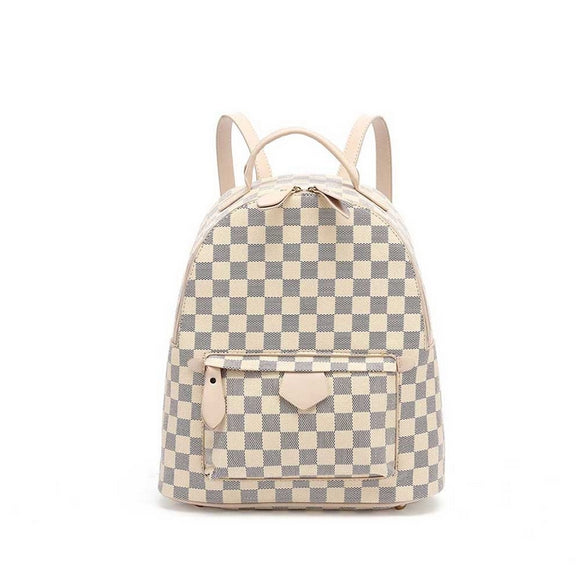 'Quickie' Louis Vuitton Inspired Mini Backpack - Beige Check