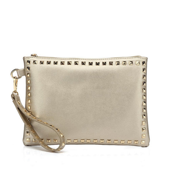 Brianna Studded Valentino Inspired Clutch - Gold