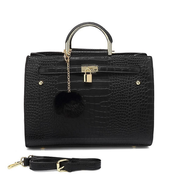 Kerry Moc Croc Hermes Inspired Bag - Black