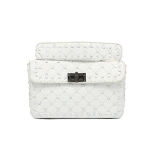 Iris Paint Studded Valentino Inspired Bag - White