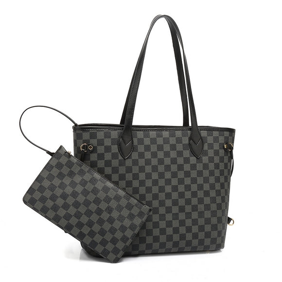 Neverfull Designer Inspired Tote Bag - Black Check