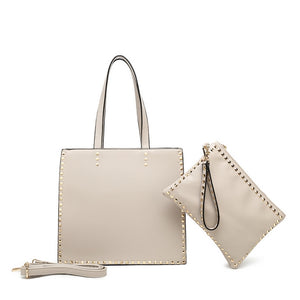 Claire Valentino Inspired Bag and Clutch Set - Nude