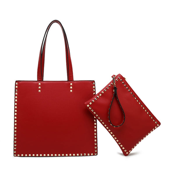 Claire Valentino Inspired Bag and Clutch Set - Red