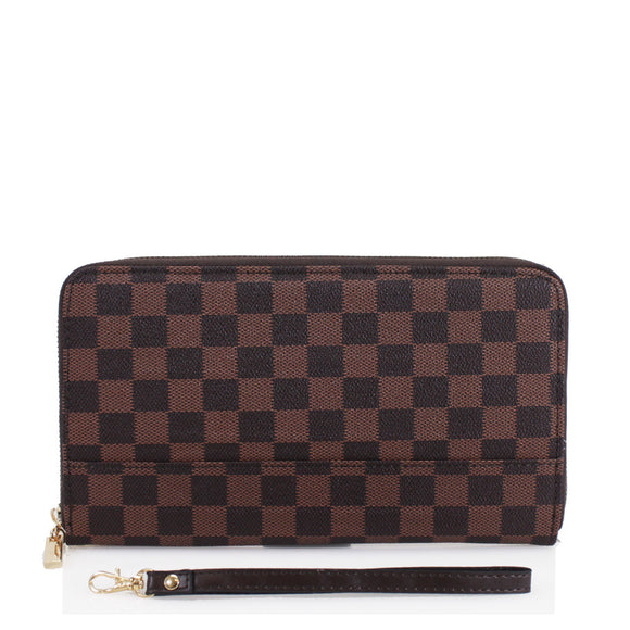 Una Designer Inspired Passport Cover & Travel Wallet - Brown Check