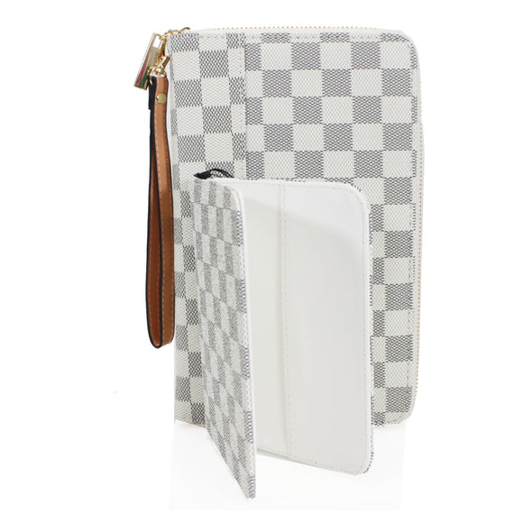 Una Designer Inspired Passport Cover & Travel Wallet - White Check