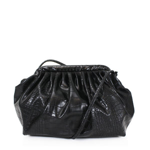 Cloud Moc Croc Ruched Bottega Veneta Inspired Clutch Bag - Black