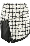 Cher Tweed PU Overlap Designer Inspired Mini Skirt - White