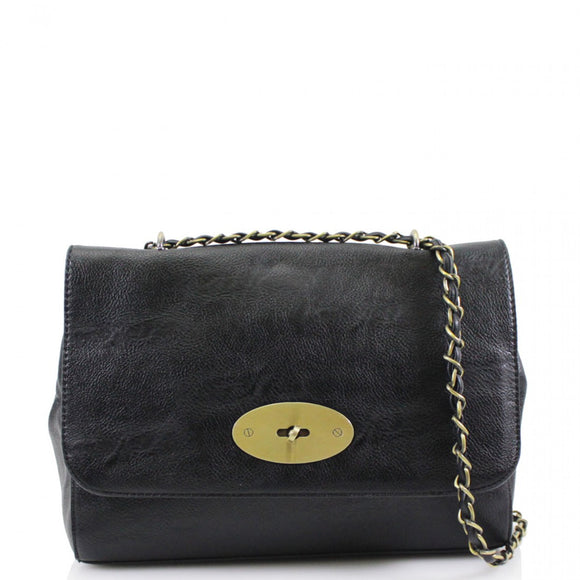 Athena Mulberry Inspired Crossbody Bag - Black