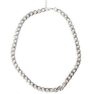 Tess Designer Inspired Link Chain Necklace - Silver