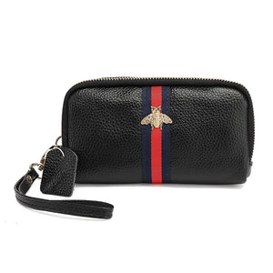 Piper Real Leather Gucci Inspired Purse / Wristlet - Black