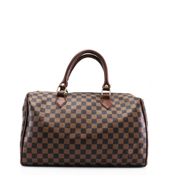 'Everyday' Designer Inspired Speedy Bag – Brown Check