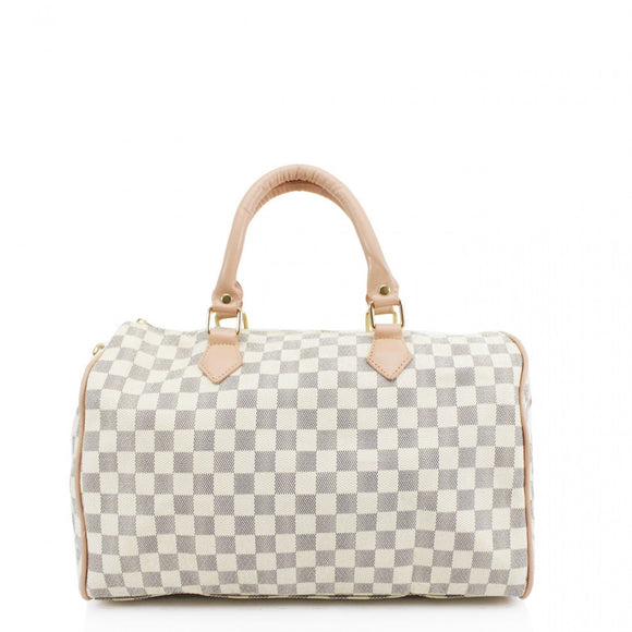 'Everyday' Designer Inspired Speedy Bag – White Check