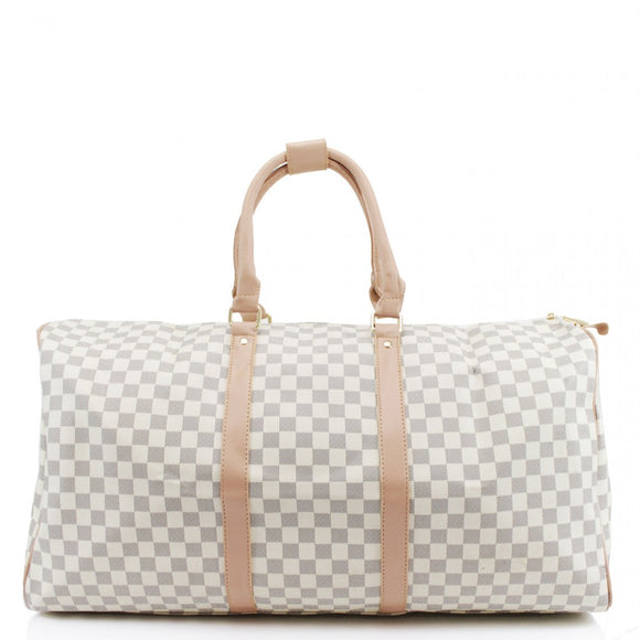 'Take Me Away' Designer Inspired Weekend Bag - White Check