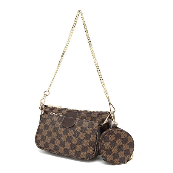 Eloise Multi Pochette Designer Inspired Bag - Brown Check