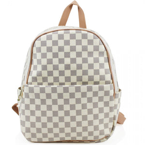 'Day Trip' Designer Inspired Backpack - White Check