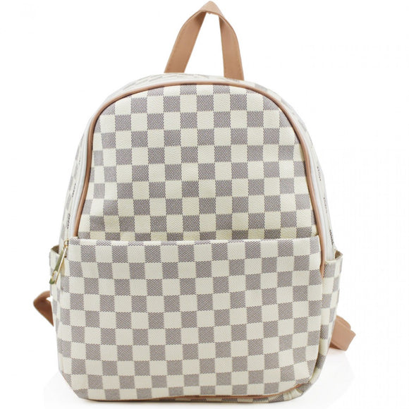 'Day Trip' Louis Vuitton Inspired Backpack - White Check