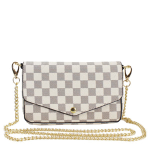 Lilly Pochette Designer Inspired Bag Set - White Check