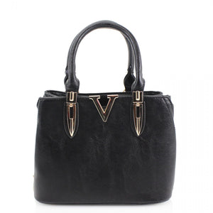 Lexi V Small Designer Inspired Inspired Tote Bag - Black