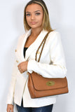 Athena Mulberry Inspired Crossbody Bag - Tan - close up on shoulder