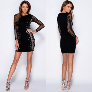 Adley Lace Up Detail Paneled Bodycon Mini Dress