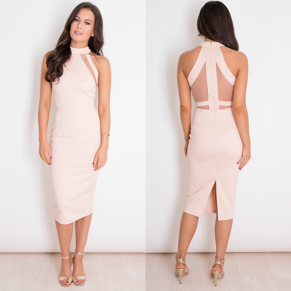 Alice Mesh Panel Bodycon Midi Dress - Nude