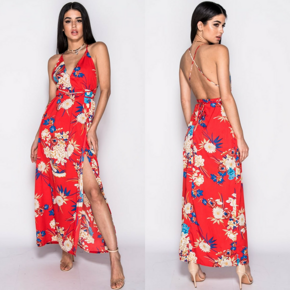 Amara Low Back Floral Thigh Split Maxi Dress - Red