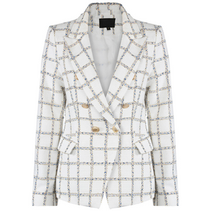 Jem Metallic Check Balmain Inspired Blazer - White