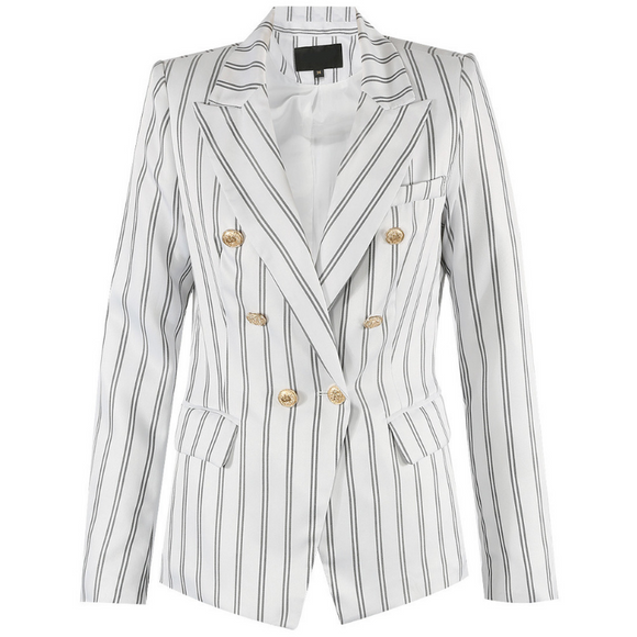 Molly Striped Balmain Inspired Blazer - White