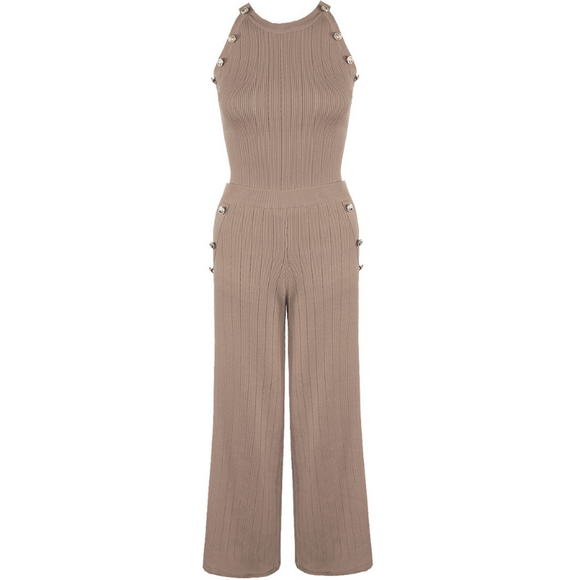 Grace Ribbed Designer Inspired Coord - Taupe