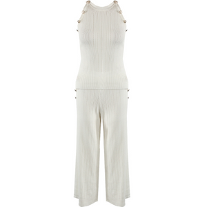 Grace Ribbed Designer Inspired Coord - White