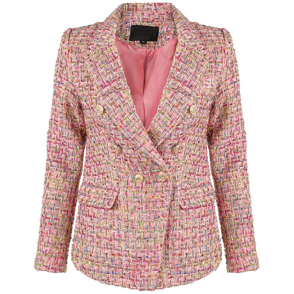 Perla Boucle Tweed Balmain Inspired Blazer - Pink