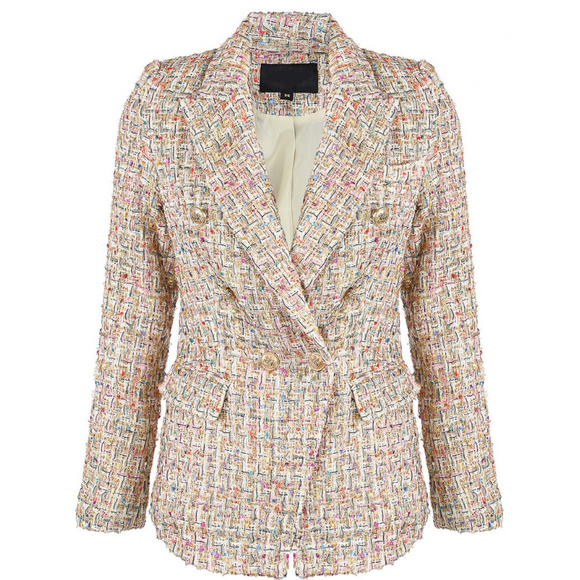 Perla Boucle Tweed Balmain Inspired Blazer - Beige