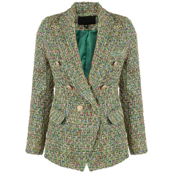 Perla Boucle Tweed Balmain Inspired Blazer - Green