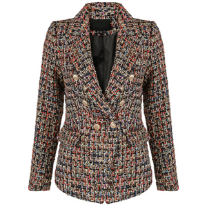 Perla Boucle Tweed Balmain Inspired Blazer - Red Mix