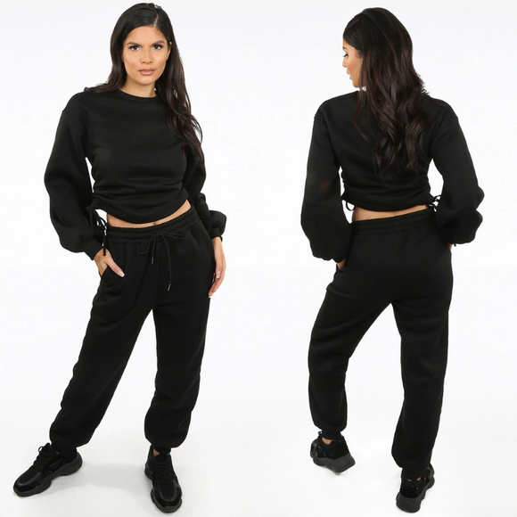 Zoe Designer Inspired Tie Ruching Loungewear Set - Black