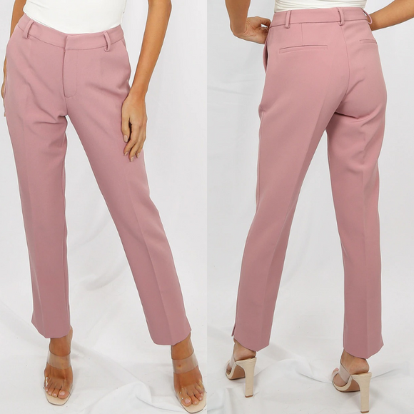 Shannon Designer Inspired Tailored Trousers - Rose