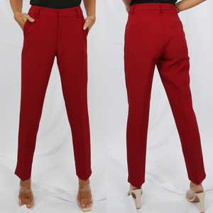 Shannon Designer Inspired Tailored Trousers - Wine Red